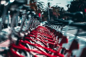 Red bicycles on the street, shallow