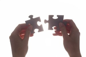 Joining two pieces of jigsaw puzzle