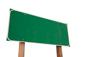 Blank Green Road Sign on White