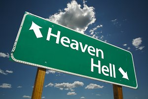 Heaven, Hell Green Road Sign