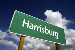 Harrisburg Green Road Sign
