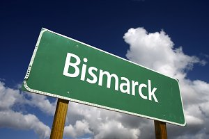 Bismarck Green Road Sign