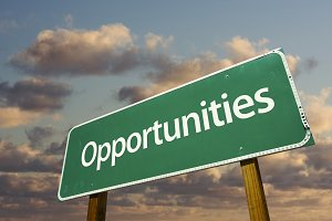 Opportunities Green Road Sign
