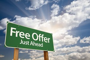 Free Offer Just Ahead Road Sign