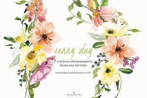 Watercolor Lemon & Peach Flowers Set