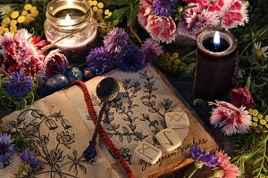 Witch diary and flowers