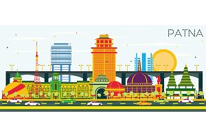 Patna India City Skyline with Color