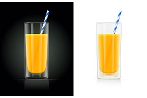 Fresh orange juice glass with pipe