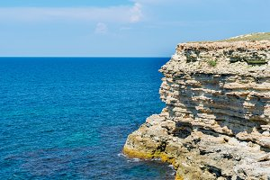 Black sea and Sandstone rocks view f