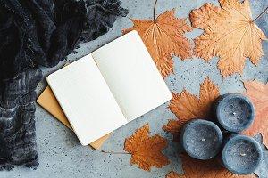Autumn flat lay composition
