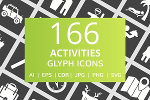 166 Activities Glyph Inverted Icons