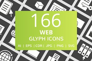166 Web Glyph Inverted Icons