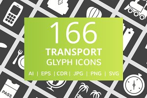 166 Transport Glyph Inverted Icons