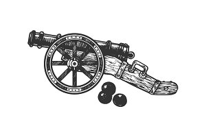 Cannon and cannonball engraving