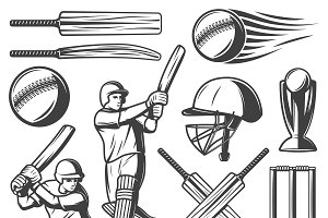 Vintage Cricket Elements Collection