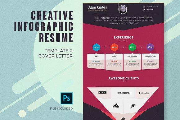 infographic resume template resume templates creative market