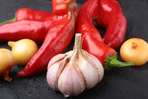 Red hot Chili pepper, garlic and
