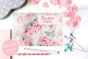 Tender roses pattern