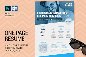 One Page Resume CV & Cover Letter