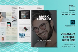 Resume CV Template in Booklet Style