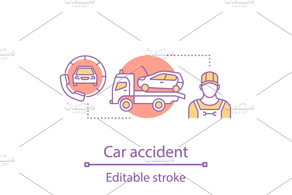 Car Accident Concept Icon Icons Creative Market