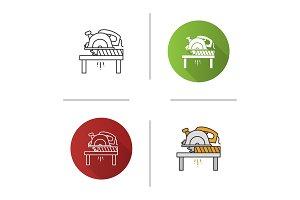 Circular saw cutting plank icon
