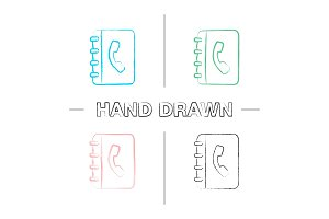Telephone book hand drawn icons set