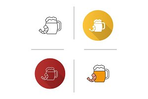 Beer mug with shrimp icon