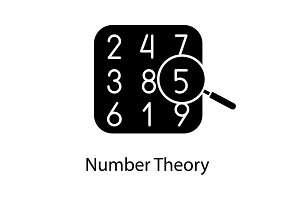 Number theory glyph icon