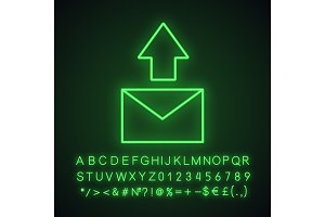 Send message neon light icon