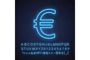 Euro sign neon light icon