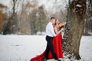 Amazing couple in winter fairytale f
