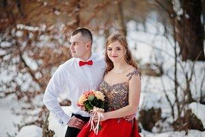 Amazing couple in winter fairytale f