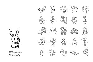 Fairy tale outlines vector icons