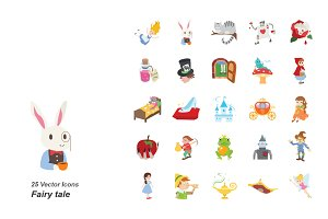 Fairy tale color vector icons