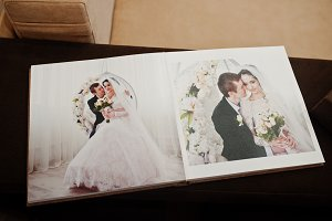 Open pages of wedding book or album.