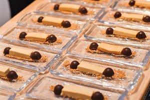 Molecular dessert of dark and white
