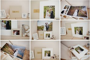 Set of photo wedding book or album.