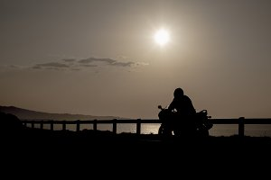 Motorbike landscape at sunset
