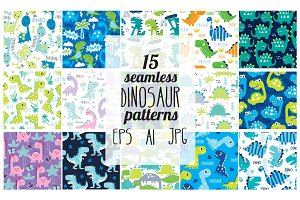 15 dinosaur seamless patterns