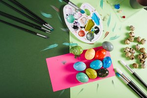Painted chicken and quail easter egg