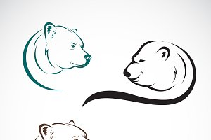 Group of bear head design. Animal.