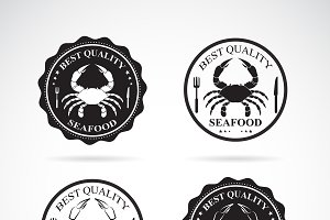 Set of vector crab seafood labels.