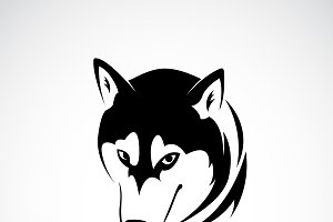 Vector of siberian husky dog head.