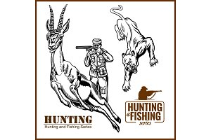 African safari hunting retro poster
