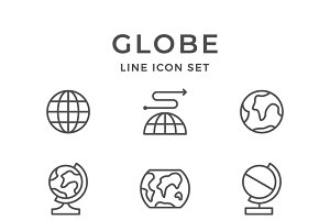 Set line icons of globe