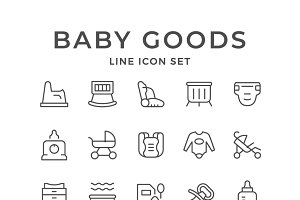 Set line icons of baby goods