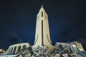 Church of st Petr on frozen evening