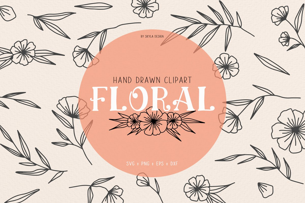 Floral Wedding Clipart Illustration Custom Designed