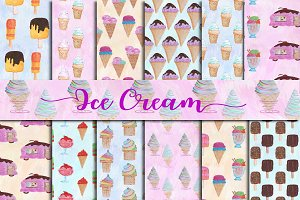 Watercolor Ice Cream Paper Pack